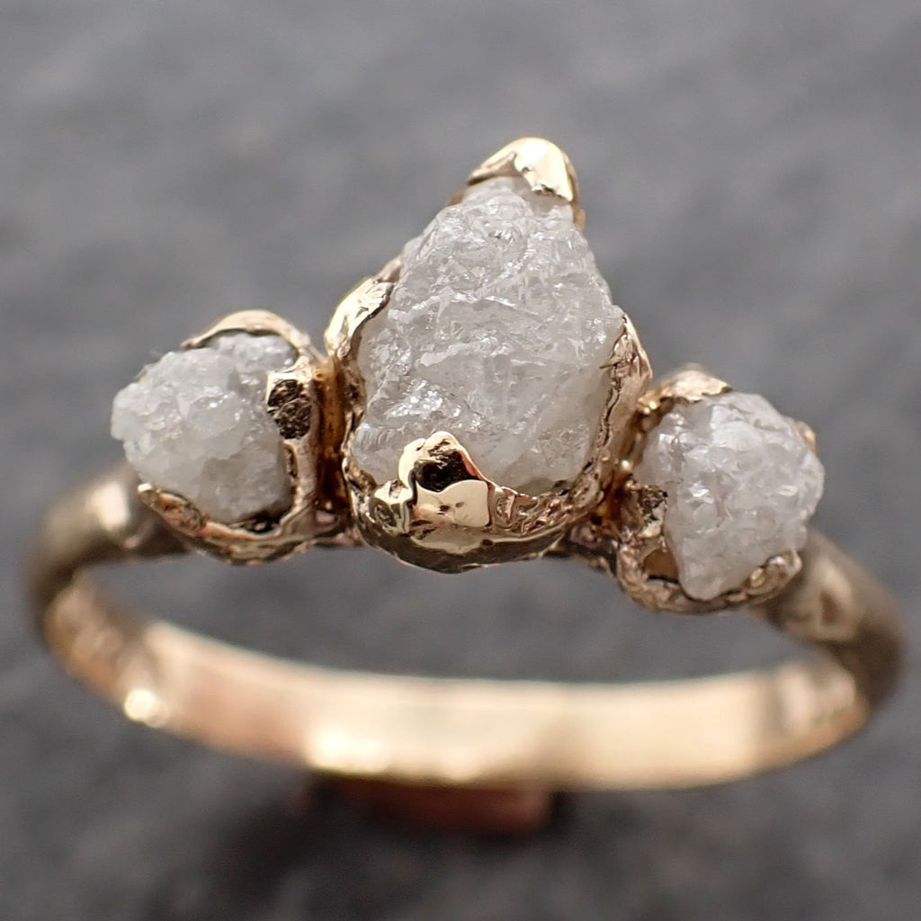 Raw Rough Diamond Engagement Stacking Multi stone Wedding anniversary 14k Gold Ring Rustic 2497