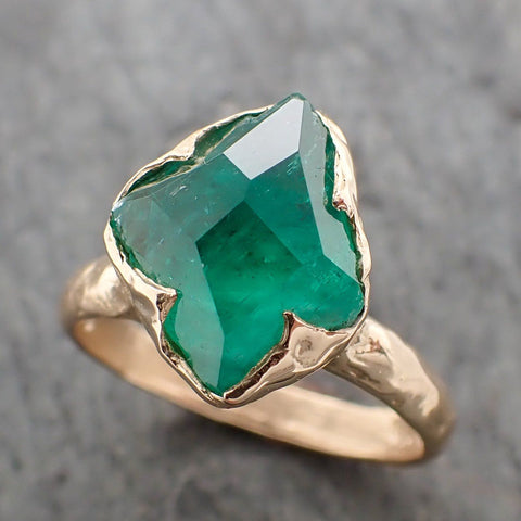 Partially Faceted Emerald Solitaire yellow 14k Gold Ring Birthstone One Of a Kind Gemstone Cocktail Ring Recycled 2240