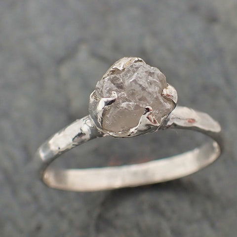 Raw Rough Diamond Engagement Stacking ring Solitaire Silver Ring recycled SS00064