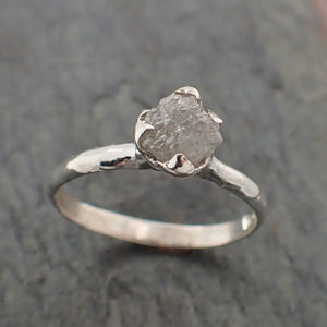 Raw Rough Diamond Engagement Stacking ring Solitaire Silver Ring recycled SS00063