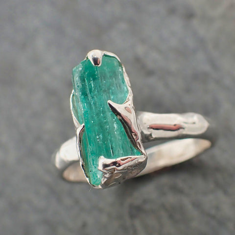 Raw uncut Emerald Sterling Silver Ring Gemstone Solitaire recycled statement cocktail statement SS00069