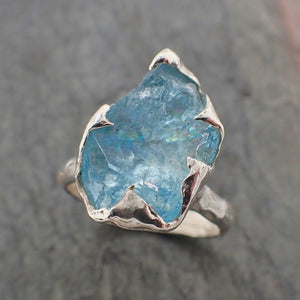 uncut Aquamarine Solitaire Ring Custom Sterling Silver One Of a Kind Gemstone Ring Bespoke byAngeline SS00061