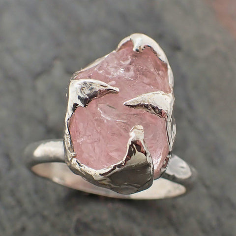 uncut Morganite Solitaire Ring Custom Sterling Silver One Of a Kind Gemstone Ring Bespoke byAngeline SS00062