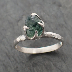 Rough green Sapphire Sterling Silver Ring Gemstone Solitaire recycled cocktail statement SS00073