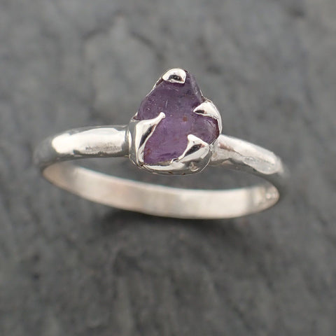 Rough Sapphire Sterling Silver Ring Gemstone Solitaire recycled cocktail statement SS00072