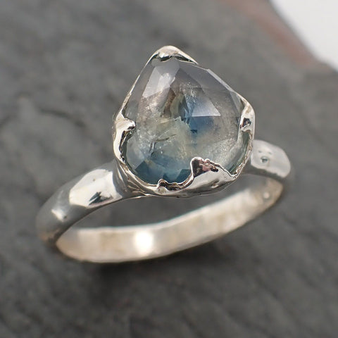 Fancy cut Montana Sapphire Sterling Silver Ring Gemstone Solitaire recycled cocktail statement SS00071