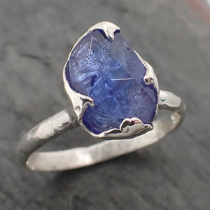 Fancy cut Tanzanite Sterling Silver Engagement Ring Blue Custom Gemstone Ring Solitaire byAngeline SS00070