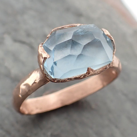 Partially faceted Aquamarine Solitaire Ring 14k Rose gold Custom One Of a Kind Gemstone Ring Bespoke byAngeline 2245