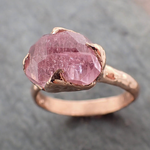 Partially faceted Morganite 14k Rose gold solitaire Pink Gemstone Cocktail Ring Statement Ring gemstone Jewelry byAngeline 2246
