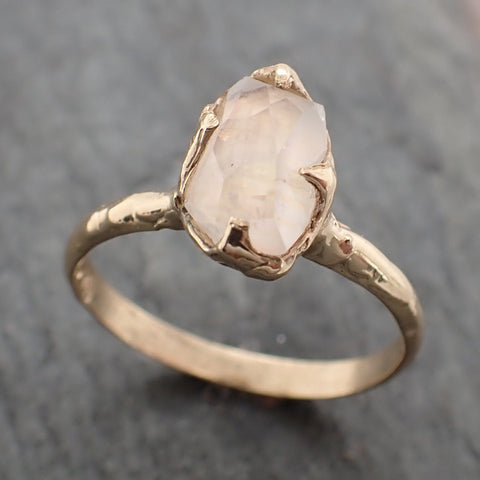 Partially Faceted Moonstone Yellow Gold Ring Gemstone Solitaire recycled 14k statement cocktail statement 2249