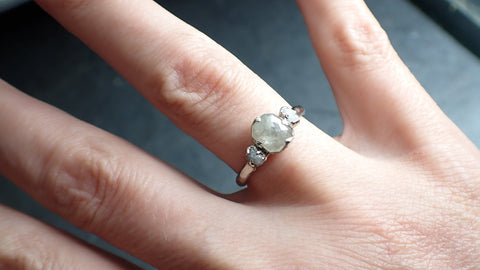 Faceted Fancy cut white Diamond Multi stone Engagement 18k White Gold Wedding Ring byAngeline 2252
