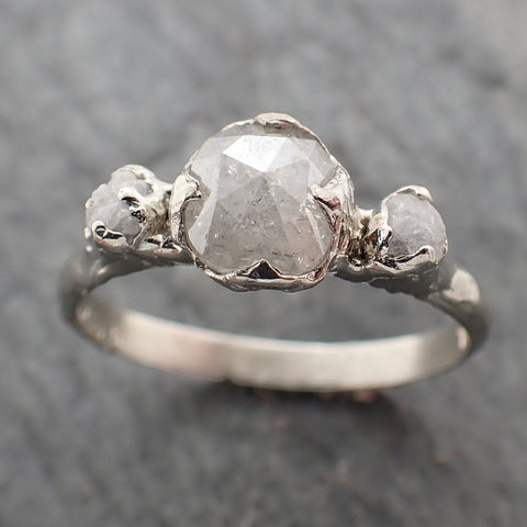 Faceted Fancy cut white Diamond Multi stone Engagement 18k White Gold Wedding Ring byAngeline 2253