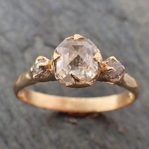 Fancy cut white Diamond Engagement 18k Yellow Gold Multi stone Wedding Ring Stacking Rough Diamond Ring byAngeline 2265