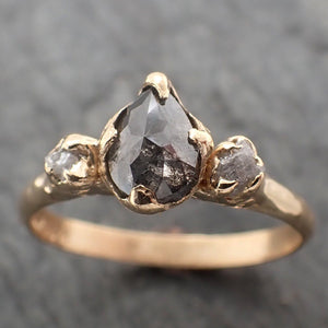 Fancy cut Salt and Pepper Diamond Engagement 18k Yellow Gold Multi stone Wedding Ring Stacking Rough Diamond Ring byAngeline 2260