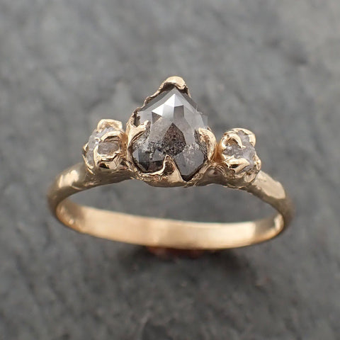 Fancy cut Salt and Pepper Diamond Engagement 18k Yellow Gold Multi stone Wedding Ring Stacking Rough Diamond Ring byAngeline 2261
