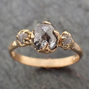 Fancy cut Salt and Pepper Diamond Engagement 18k Yellow Gold Multi stone Wedding Ring Stacking Rough Diamond Ring byAngeline 2262