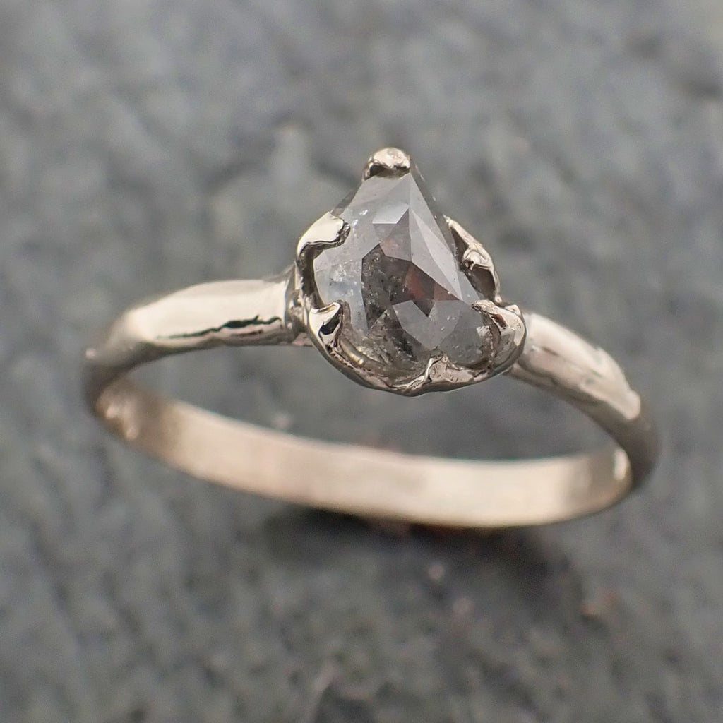 Fancy Cut Half Moon Diamond Solitaire Engagement 14k White Gold Wedding Ring byAngeline 2255