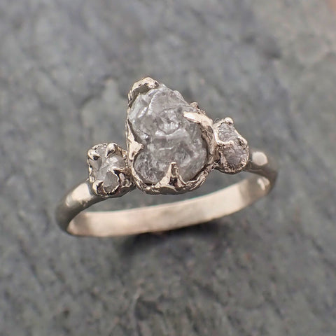 Raw Rough Diamond white gold 14k Engagement Multi stone Three Ring Rough Gold Wedding Ring diamond Wedding Ring Rough Diamond Ring byAngeline 2259