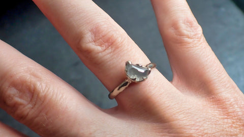 Fancy Cut Half Moon Diamond Solitaire Engagement 14k White Gold Wedding Ring byAngeline 2254