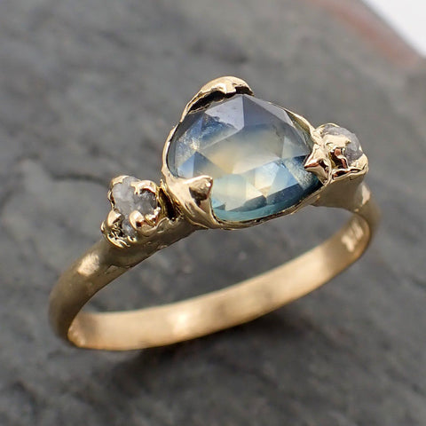 Fancy cut Montana Sapphire Diamond 18k yellow Gold Engagement Ring Wedding Ring Custom One Of a Kind blue Gemstone Ring Multi stone Ring 2270