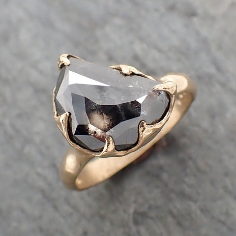 Fancy cut salt and pepper Half moon Diamond Engagement 14k Yellow Gold Solitaire Wedding Ring byAngeline 2266