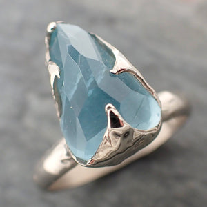 Partially faceted Aquamarine Solitaire Ring 14k White gold Custom One Of a Kind Gemstone Ring Bespoke byAngeline 2271