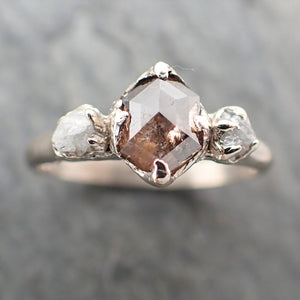 Fancy cut salt and pepper Diamond Multi stone Engagement 14k White Gold Wedding Ring Rough Diamond Ring byAngeline 2277