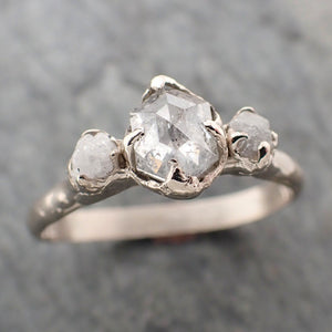 Fancy cut salt and pepper Diamond Multi stone Engagement 14k White Gold Wedding Ring Rough Diamond Ring byAngeline 2279