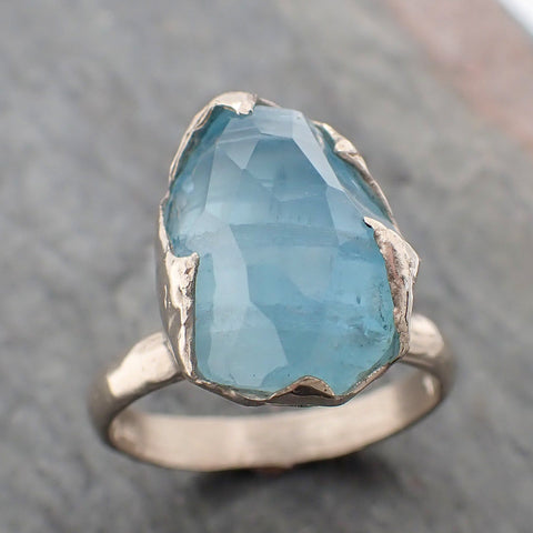 Partially faceted Aquamarine Solitaire Ring 14k White gold Custom One Of a Kind Cocktail Gemstone Ring Bespoke byAngeline 2273