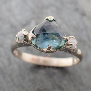 Fancy cut Montana blue Sapphire 14k White gold Ring Gold Multi stone Gemstone Engagement 2276