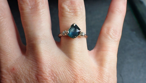 Partially faceted Montana Sapphire Diamond 14k White Gold Engagement Ring Wedding Ring Custom blue Gemstone Ring Multi stone Ring 2282