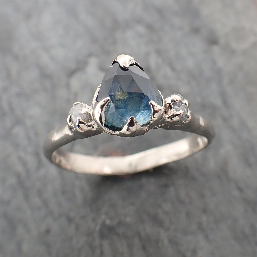 Fancy cut Montana blue Sapphire 14k White gold Ring Gold Multi stone Gemstone Engagement 2286