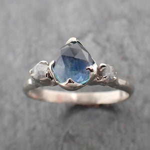 Fancy cut Montana blue Sapphire 14k White gold Ring Gold Multi stone Gemstone Engagement 2285