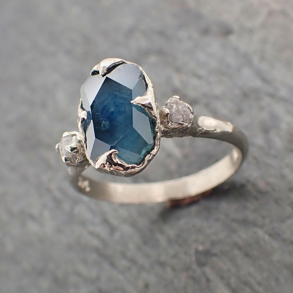 Partially faceted Montana Sapphire Diamond 14k White Gold Engagement Ring Wedding Ring Custom blue Gemstone Ring Multi stone Ring 2283