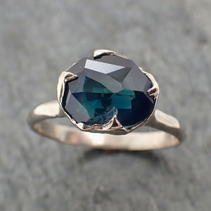 Partially Faceted Montana Sapphire Solitaire 14k white Gold Engagement Ring Wedding Ring Custom One Of a Kind Gemstone Ring 2281