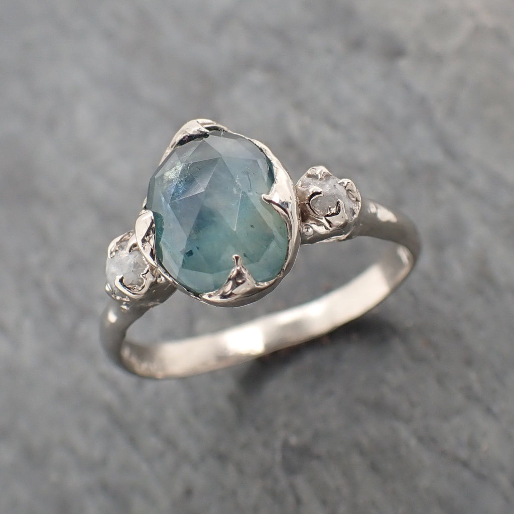 Fancy cut Montana blue Sapphire 14k White gold Ring Gold Multi stone Gemstone Engagement 2287