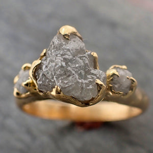 Raw Rough Diamond gold Engagement Multi stone 18k Gold Wedding Ring diamond Wedding Ring Rough Diamond Ring byAngeline 2288