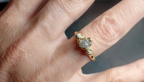 Rough Diamond gold Engagement Multi stone Three Ring 18k Gold Wedding Ring diamond Wedding Ring Rough Diamond Ring byAngeline 2290
