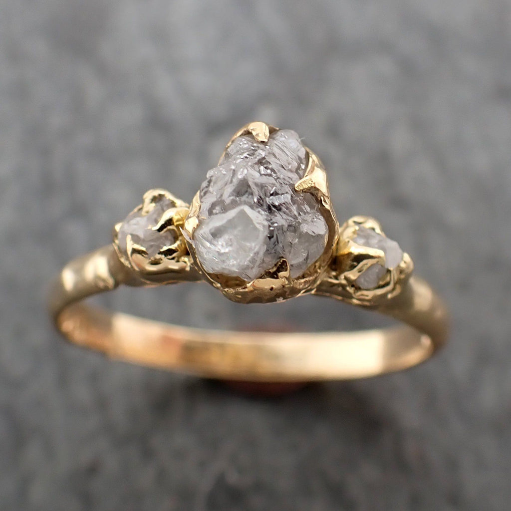 Raw Rough Diamond gold Engagement Multi stone 18k Gold Wedding Ring diamond Wedding Ring Rough Diamond Ring byAngeline 2289