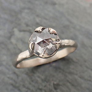 Fancy cut salt and pepper Diamond Solitaire Engagement 14k White Gold Wedding Ring byAngeline 2293