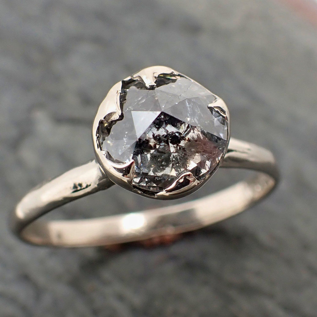 Fancy cut salt and pepper Diamond Solitaire Engagement 14k White Gold Wedding Ring byAngeline 2294