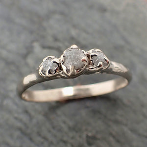 Dainty Raw Rough Diamond Engagement Stacking ring Wedding anniversary White Gold 14k Rustic byAngeline 2299
