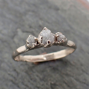 Dainty Raw Rough Diamond Engagement Stacking ring Wedding anniversary White Gold 14k Rustic byAngeline 2298