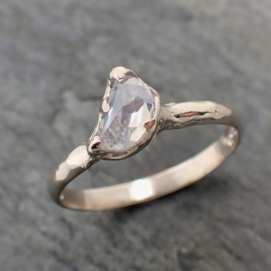 Fancy Cut Half Moon Diamond Solitaire Engagement 14k White Gold Wedding Ring byAngeline 2296
