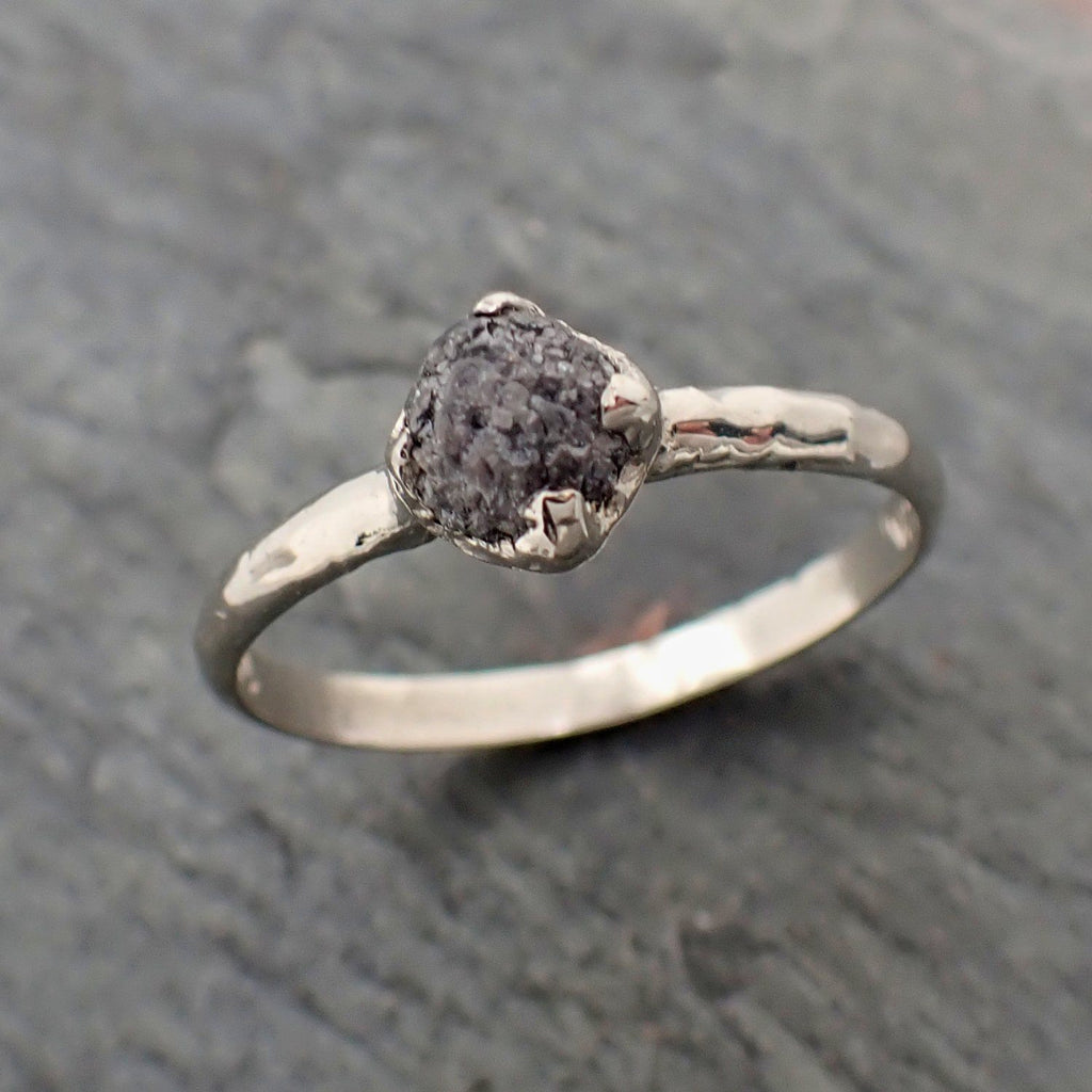 Rough Raw Black Diamond Engagement Ring Raw 14k White Gold Wedding Ring Wedding Solitaire Rough Diamond Ring byAngeline 2300