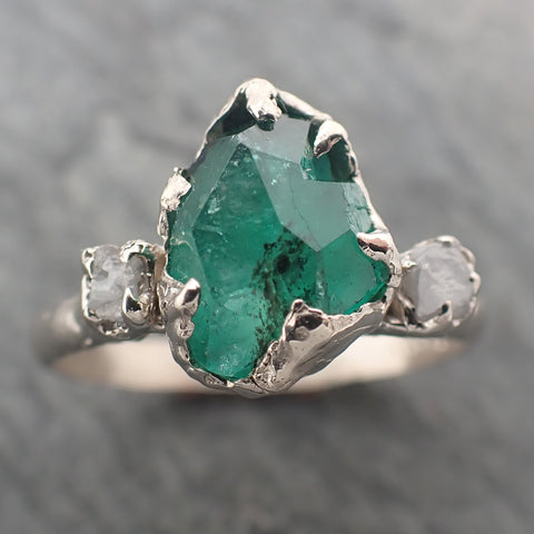 Partially faceted Three Stone Emerald rough diamond Engagement Gemstone Ring 14k white gold Multi stone Wedding Birthstone Ring byAngeline 2304