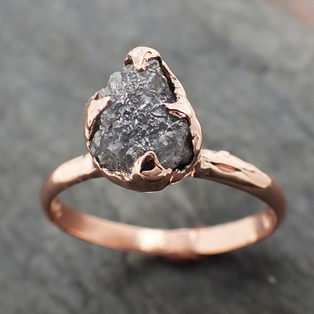 Raw gray diamond Solitaire engagement ring rough 14k rose Gold Wedding diamond Stacking Rough Diamond byAngeline 2313