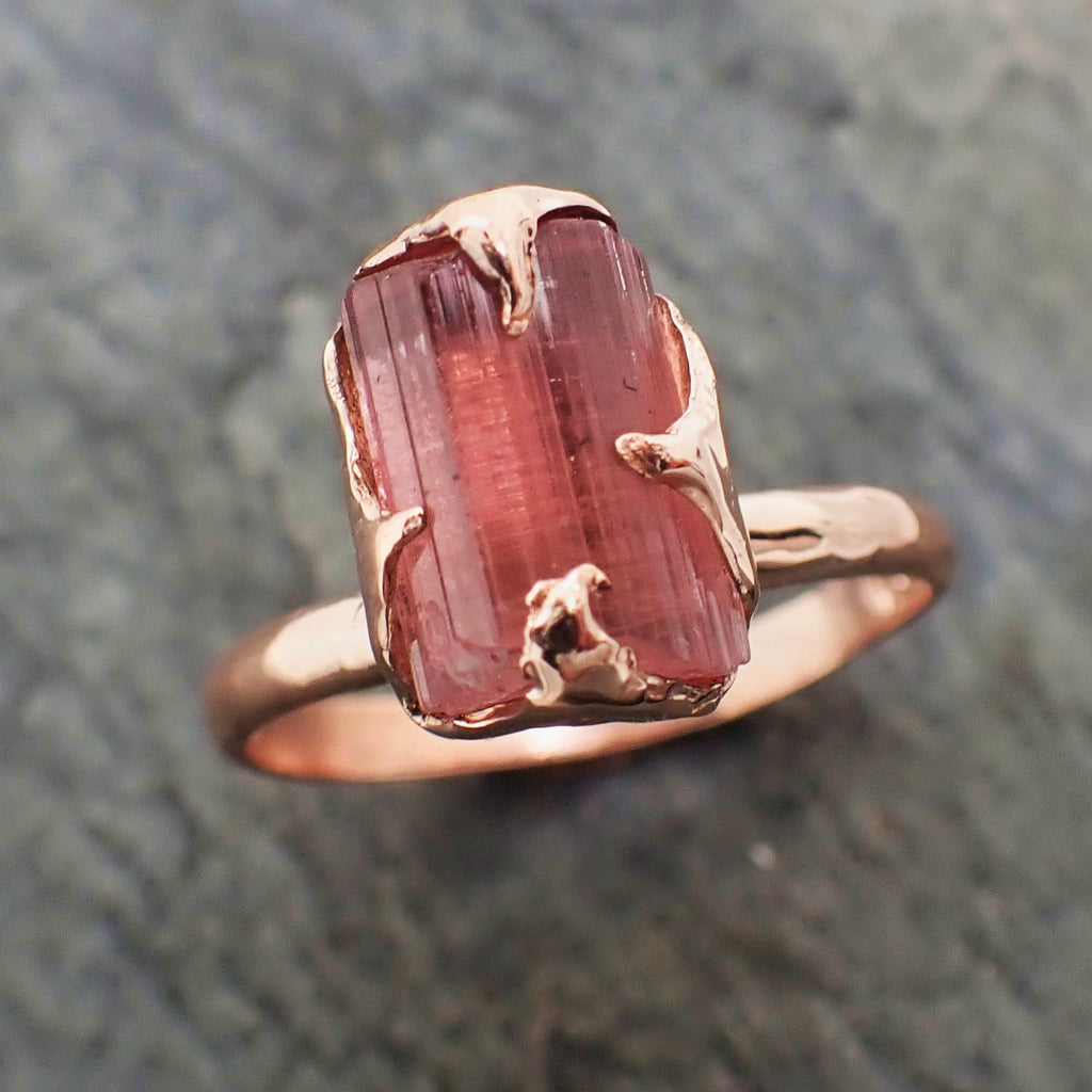 Raw Pink Tourmaline Rose Gold Ring Rough Uncut  Pink Gemstone Promise engagement wedding recycled 14k Size stacking byAngeline 2308