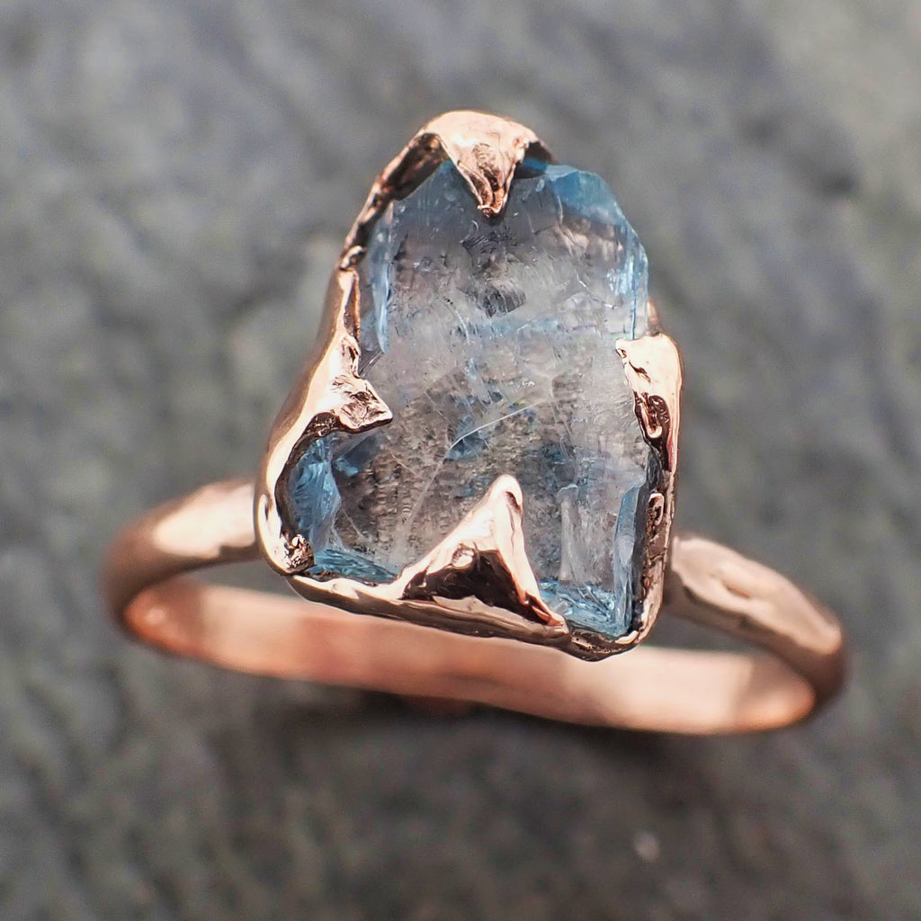 Raw uncut Aquamarine Solitaire Rose Gold Ring Custom One Of a Kind Gemstone Ring Bespoke byAngeline 2309