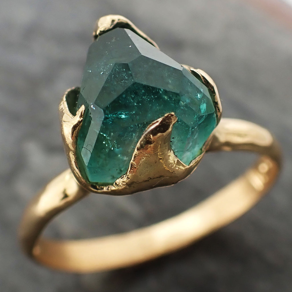 Partially faceted Solitaire Green Tourmaline 18k Gold Engagement Ring One Of a Kind Gemstone Ring byAngeline 2319